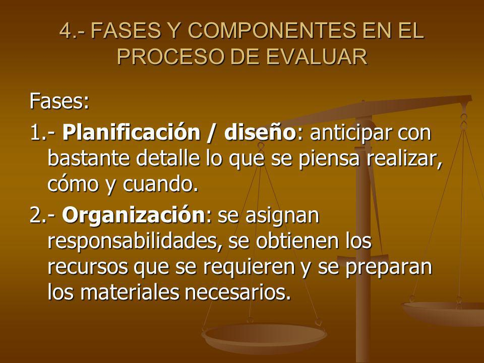 4.- FASES Y COMPONENTES EN EL PROCESO DE EVALUAR