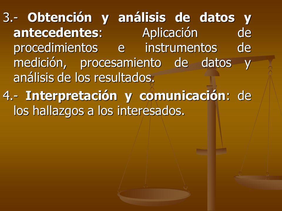 3.- Obtención y análisis de datos y antecedentes: Aplicación de procedimientos e instrumentos de medición, procesamiento de datos y análisis de los resultados.
