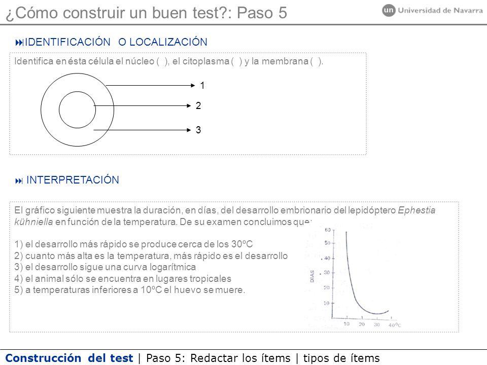 Construcción del test | Paso 5: Redactar los ítems | tipos de ítems