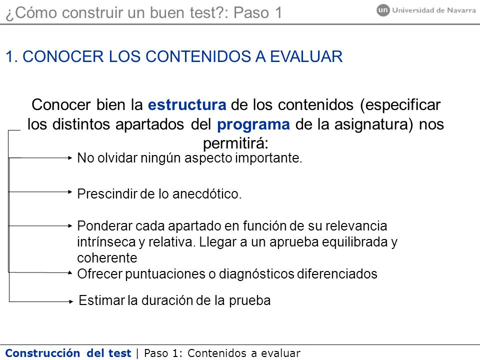 Construcción del test | Paso 1: Contenidos a evaluar