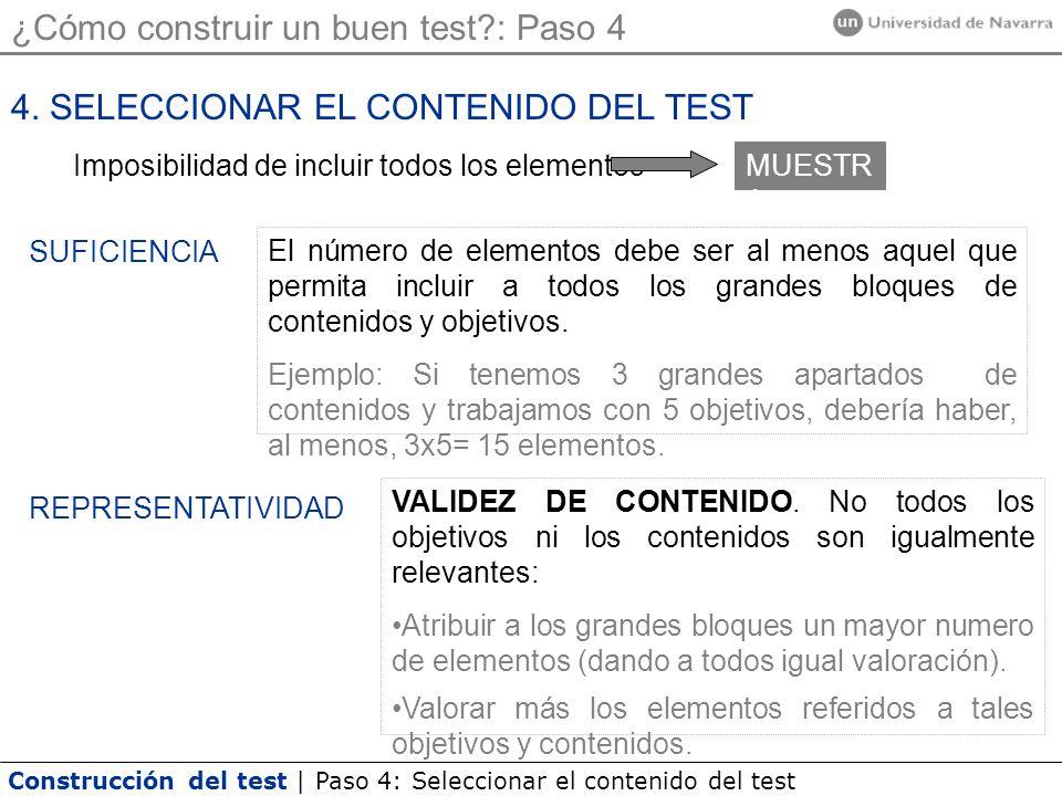 Construcción del test | Paso 4: Seleccionar el contenido del test