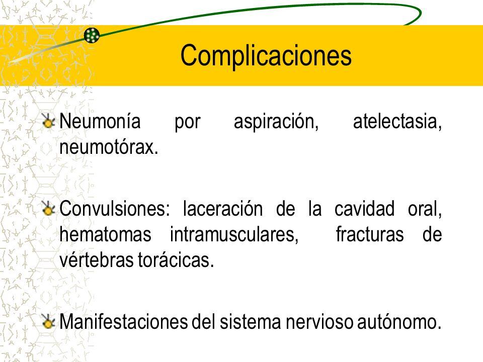 Complicaciones Neumonía por aspiración, atelectasia, neumotórax.