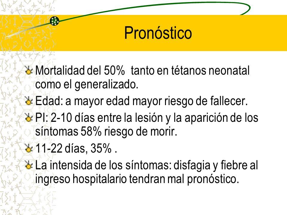PronósticoMortalidad del 50% tanto en tétanos neonatal como el generalizado. Edad: a mayor edad mayor riesgo de fallecer.