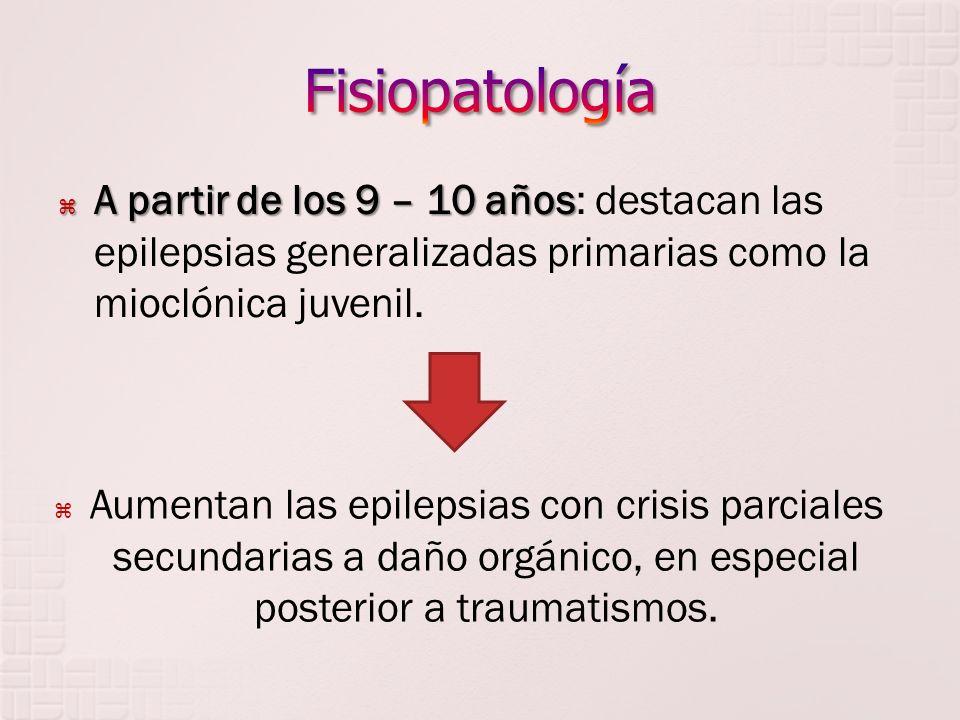 Fisiopatología A partir de los 9 – 10 años: destacan las epilepsias generalizadas primarias como la mioclónica juvenil.
