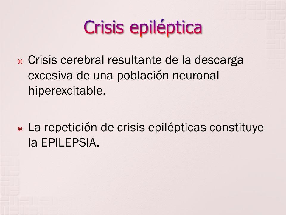 Crisis epiléptica Crisis cerebral resultante de la descarga excesiva de una población neuronal hiperexcitable.