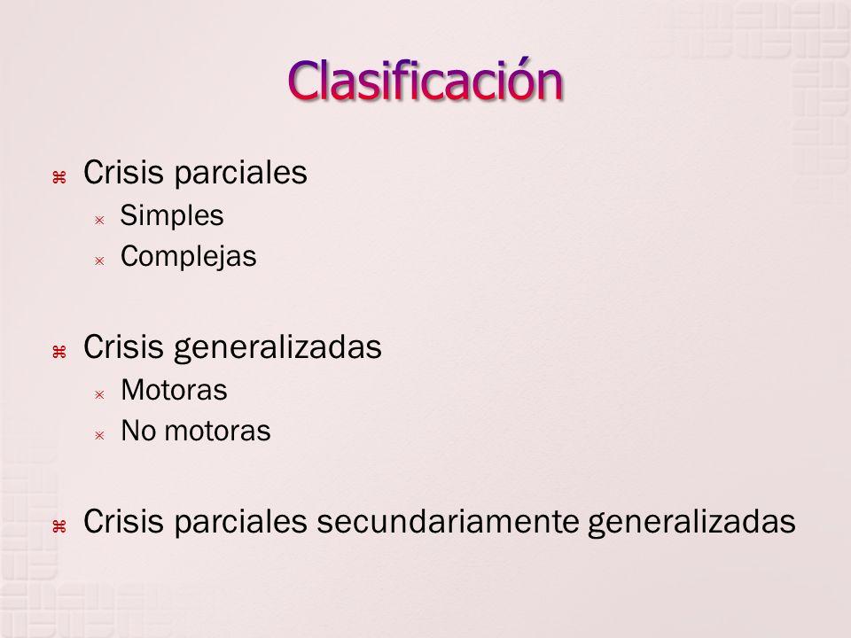 Clasificación Crisis parciales Crisis generalizadas