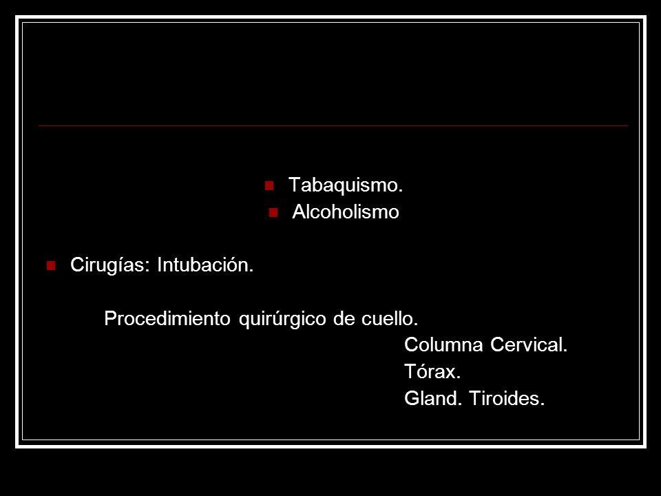 Tabaquismo. Alcoholismo. Cirugías: Intubación. Procedimiento quirúrgico de cuello. Columna Cervical.