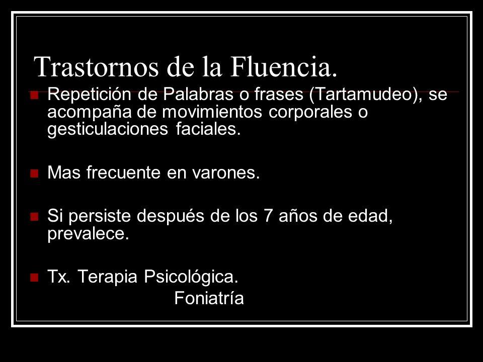 Trastornos de la Fluencia.