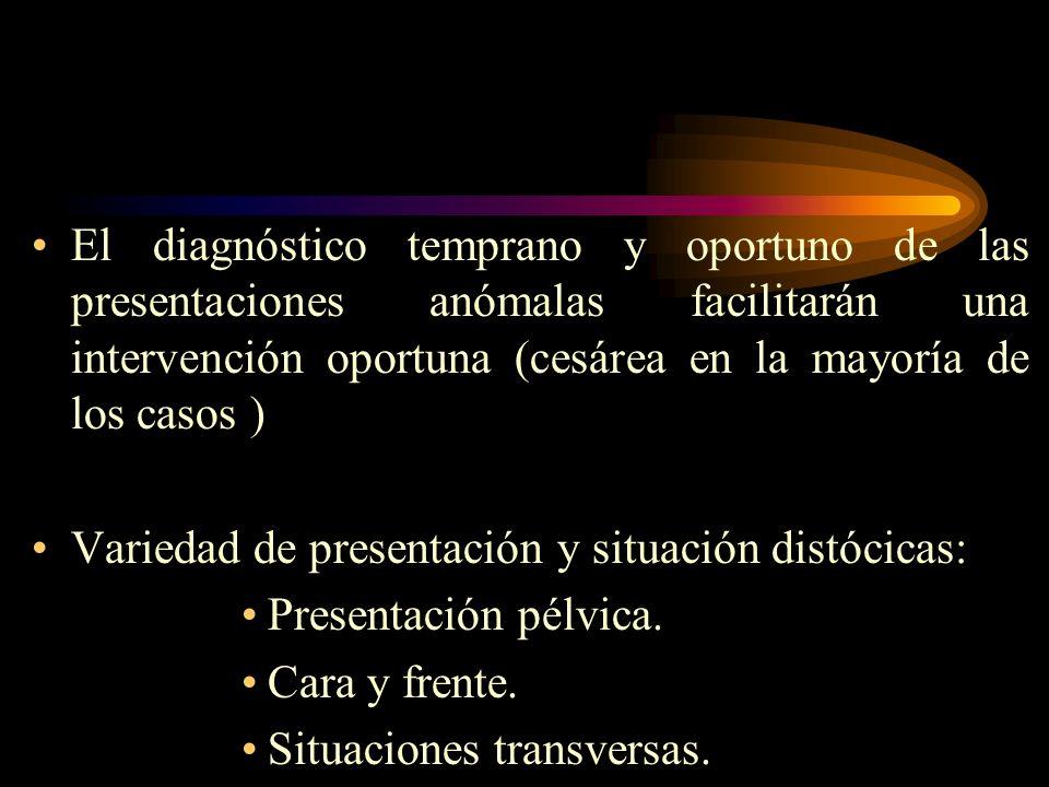 El diagnóstico temprano y oportuno de las presentaciones anómalas facilitarán una intervención oportuna (cesárea en la mayoría de los casos )