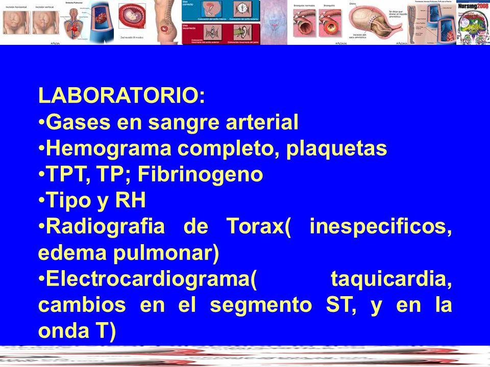 LABORATORIO: Gases en sangre arterial. Hemograma completo, plaquetas. TPT, TP; Fibrinogeno. Tipo y RH.