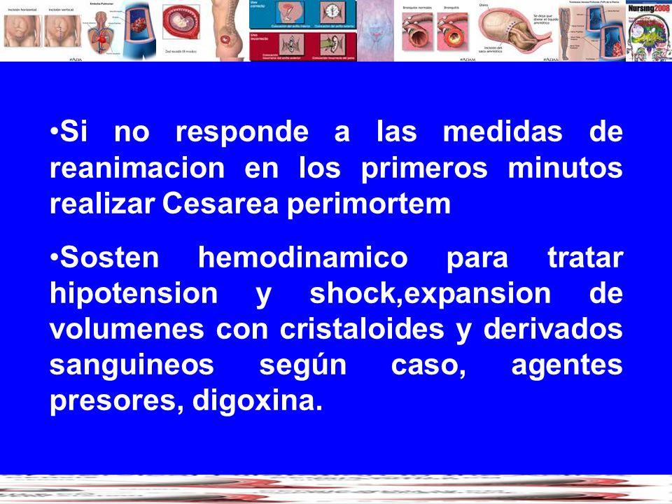 Si no responde a las medidas de reanimacion en los primeros minutos realizar Cesarea perimortem