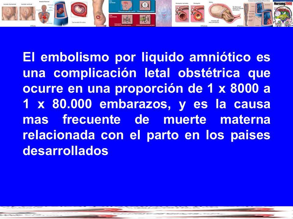 El embolismo por liquido amniótico es una complicación letal obstétrica que ocurre en una proporción de 1 x 8000 a 1 x 80.000 embarazos, y es la causa mas frecuente de muerte materna relacionada con el parto en los paises desarrollados