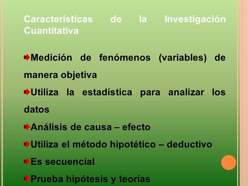 Características de la Investigación Cuantitativa