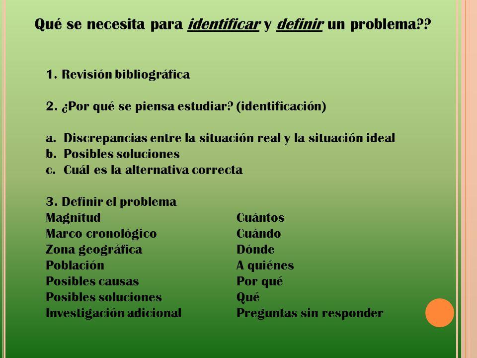 Qué se necesita para identificar y definir un problema