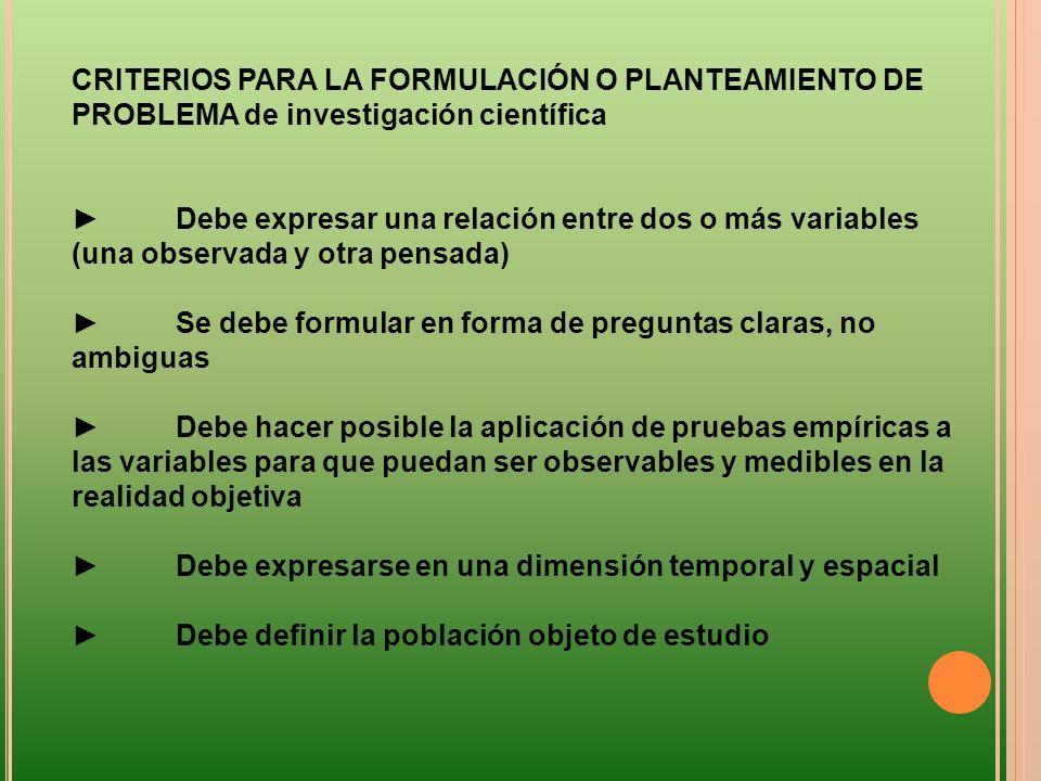CRITERIOS PARA LA FORMULACIÓN O PLANTEAMIENTO DE PROBLEMA de investigación científica