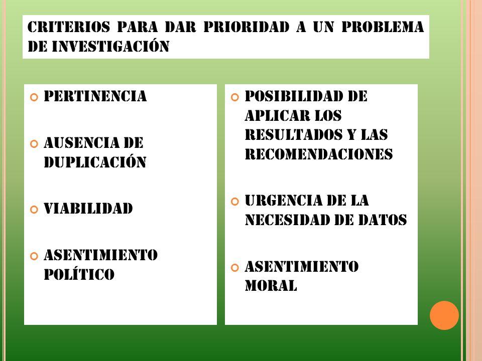 CRITERIOS PARA DAR PRIORIDAD A UN PROBLEMA DE INVESTIGACIÓN