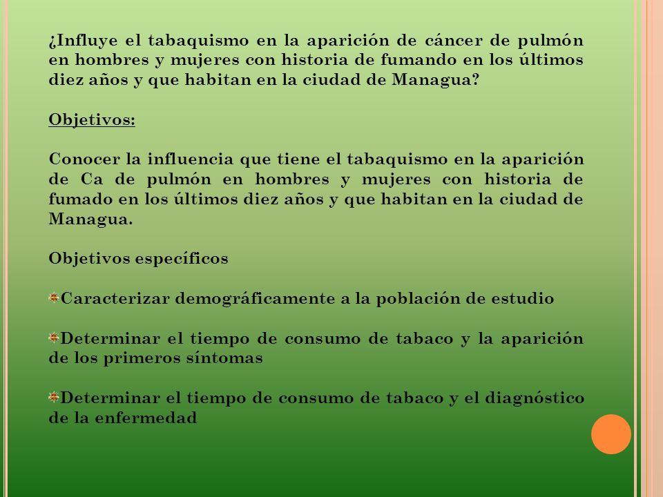 ¿Influye el tabaquismo en la aparición de cáncer de pulmón en hombres y mujeres con historia de fumando en los últimos diez años y que habitan en la ciudad de Managua
