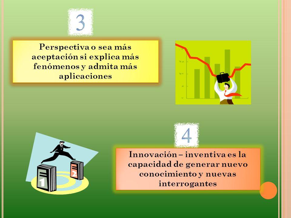 Perspectiva o sea más aceptación si explica más fenómenos y admita más aplicaciones