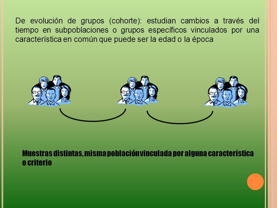 De evolución de grupos (cohorte): estudian cambios a través del tiempo en subpoblaciones o grupos específicos vinculados por una característica en común que puede ser la edad o la época