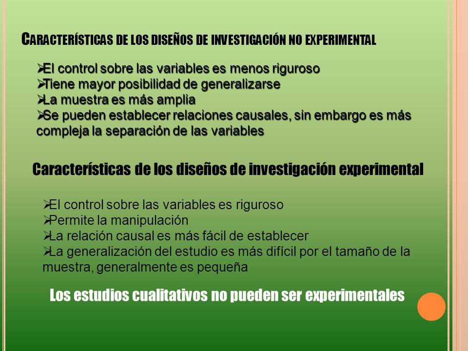 Características de los diseños de investigación no experimental