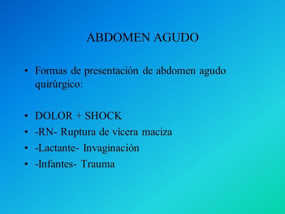 ABDOMEN AGUDO Formas de presentación de abdomen agudo quirúrgico: