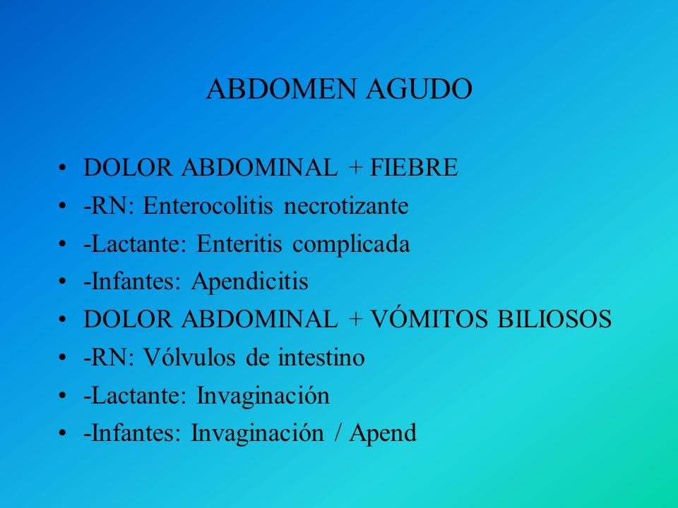 ABDOMEN AGUDO DOLOR ABDOMINAL + FIEBRE -RN: Enterocolitis necrotizante