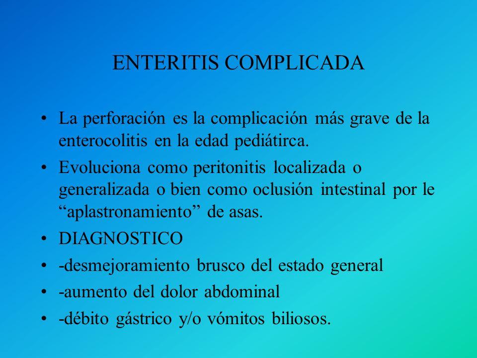 ENTERITIS COMPLICADA La perforación es la complicación más grave de la enterocolitis en la edad pediátirca.