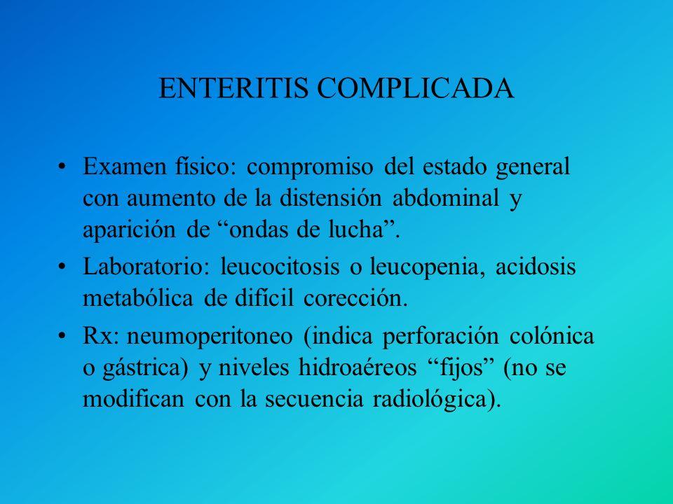 ENTERITIS COMPLICADA Examen físico: compromiso del estado general con aumento de la distensión abdominal y aparición de ondas de lucha .