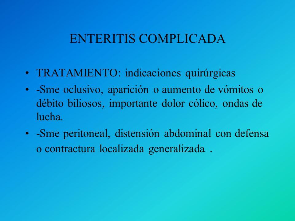 ENTERITIS COMPLICADA TRATAMIENTO: indicaciones quirúrgicas