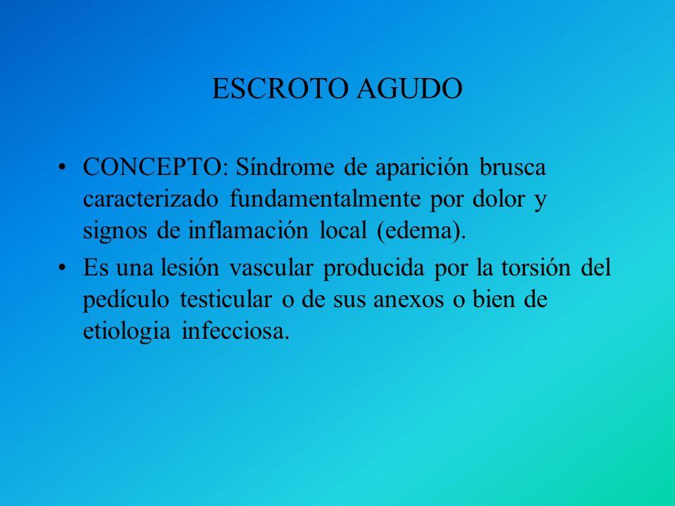 ESCROTO AGUDOCONCEPTO: Síndrome de aparición brusca caracterizado fundamentalmente por dolor y signos de inflamación local (edema).
