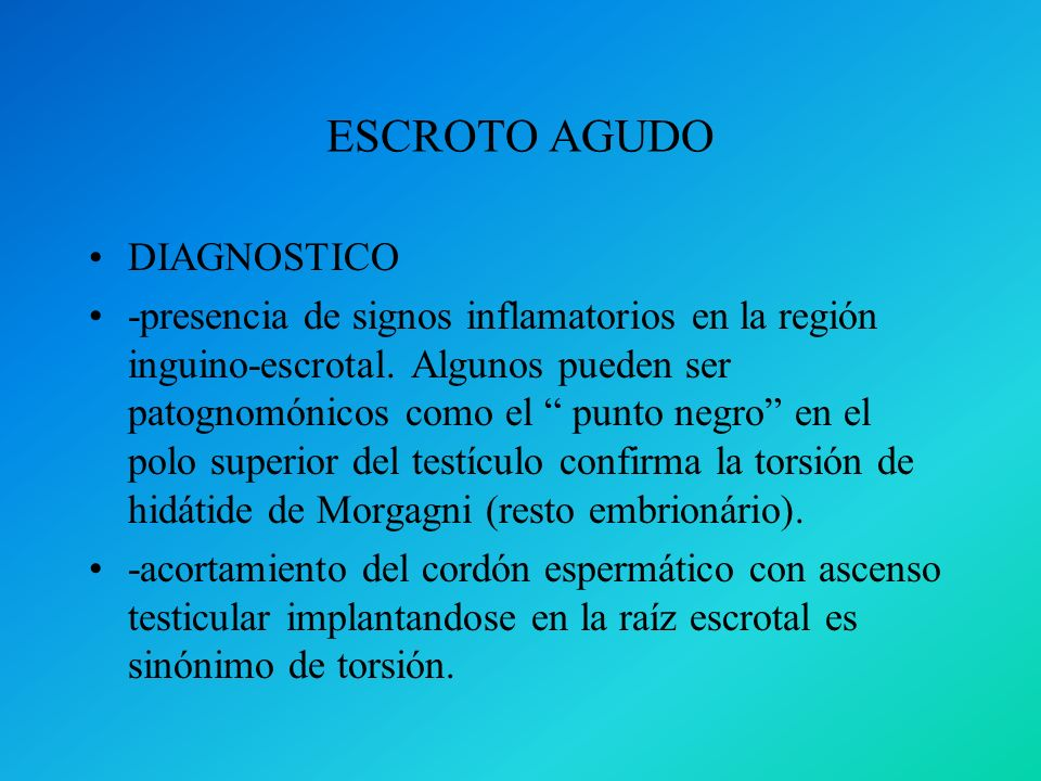 ESCROTO AGUDO DIAGNOSTICO
