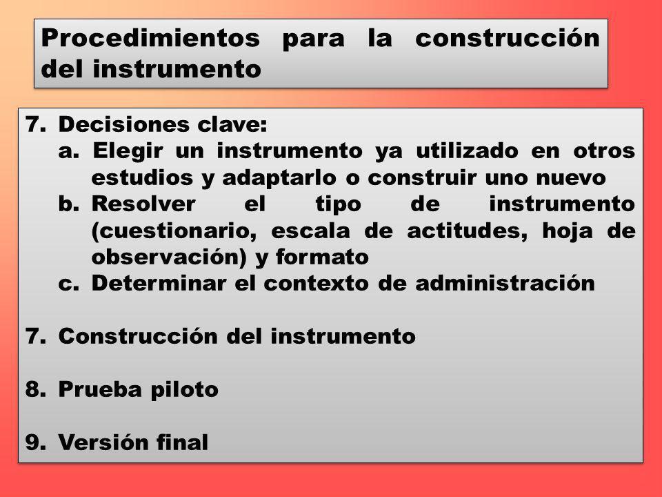 Procedimientos para la construcción del instrumento