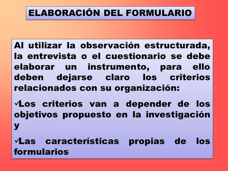 ELABORACIÓN DEL FORMULARIO