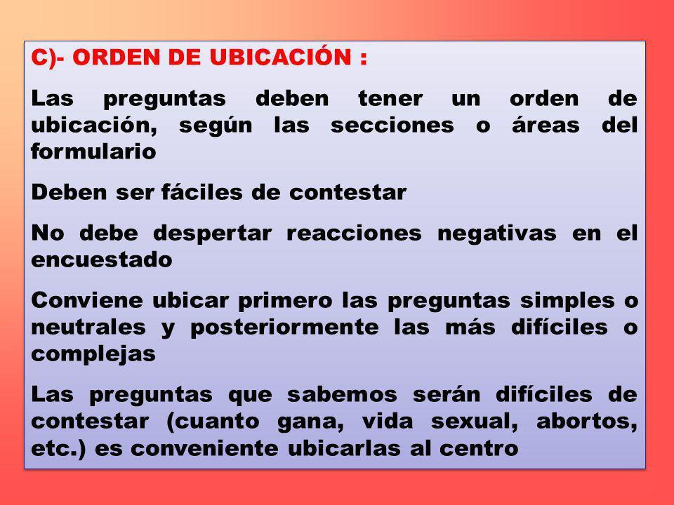 C)- ORDEN DE UBICACIÓN :
