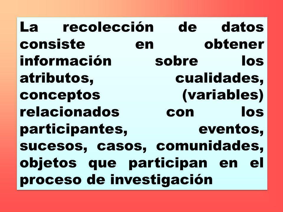 La recolección de datos consiste en obtener información sobre los atributos, cualidades, conceptos (variables) relacionados con los participantes, eventos, sucesos, casos, comunidades, objetos que participan en el proceso de investigación