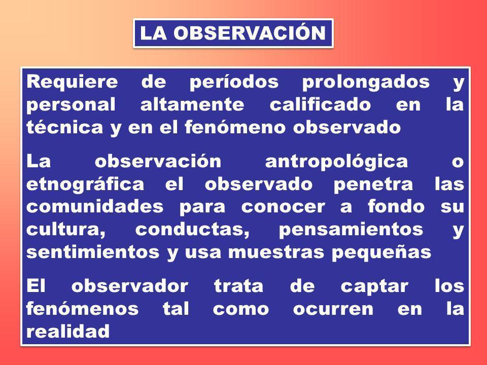 LA OBSERVACIÓN Requiere de períodos prolongados y personal altamente calificado en la técnica y en el fenómeno observado.