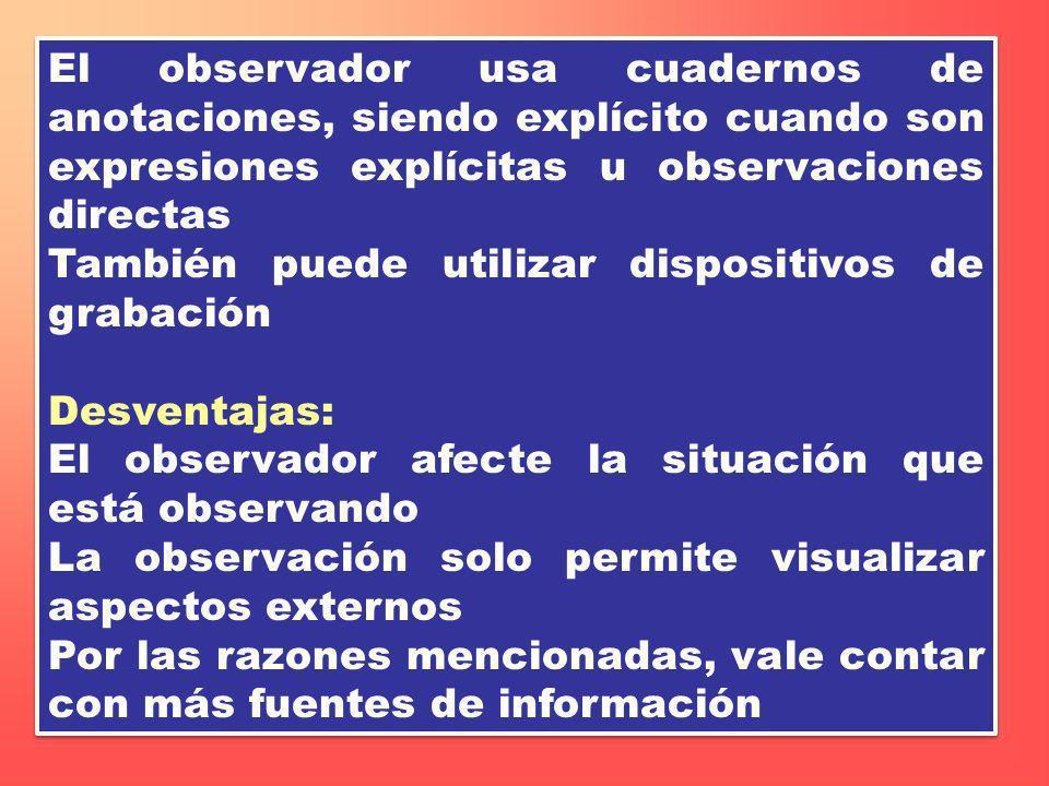 El observador usa cuadernos de anotaciones, siendo explícito cuando son expresiones explícitas u observaciones directas