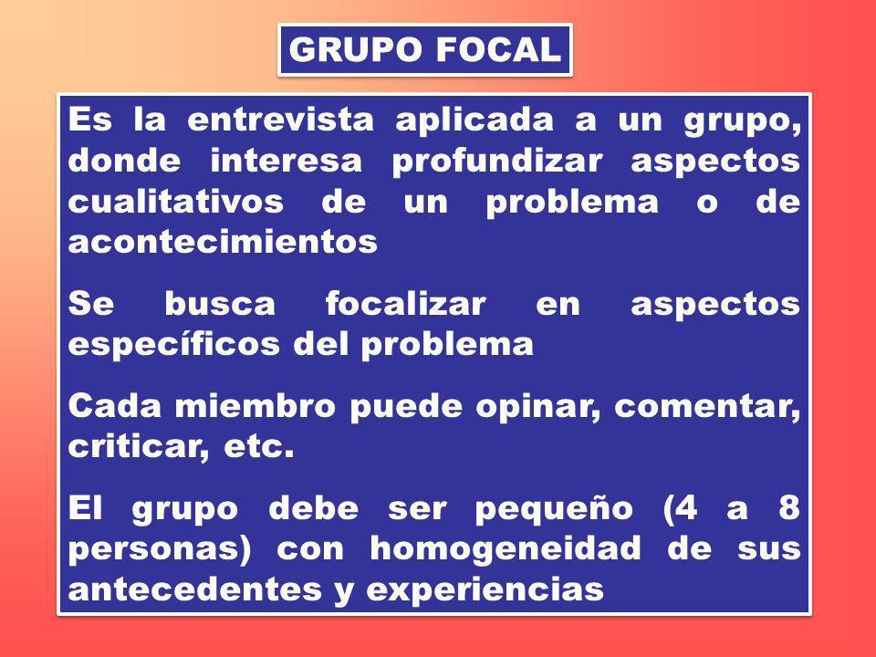 GRUPO FOCAL Es la entrevista aplicada a un grupo, donde interesa profundizar aspectos cualitativos de un problema o de acontecimientos.
