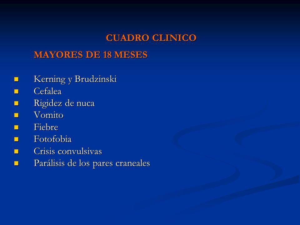 CUADRO CLINICOMAYORES DE 18 MESES. Kerning y Brudzinski. Cefalea. Rigidez de nuca. Vomito. Fiebre. Fotofobia.