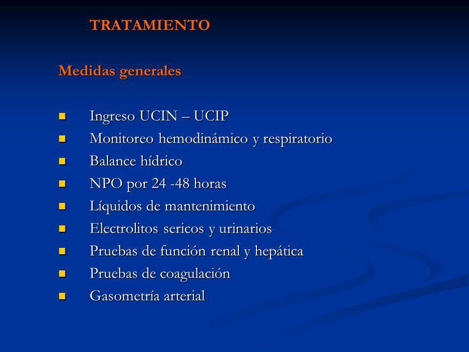 TRATAMIENTO Medidas generales. Ingreso UCIN – UCIP. Monitoreo hemodinámico y respiratorio. Balance hídrico.