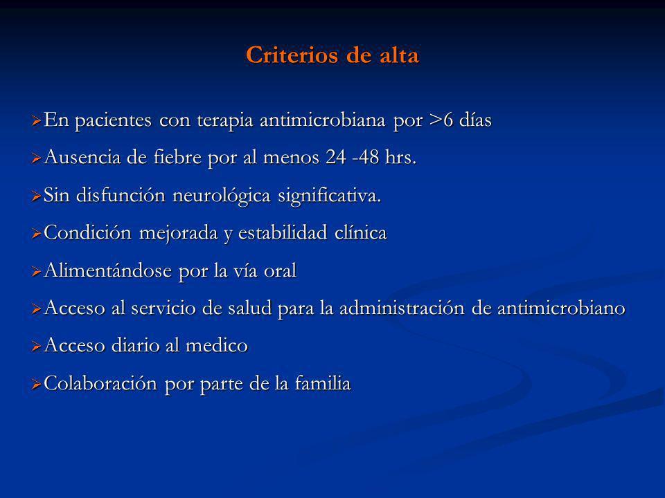 Criterios de alta En pacientes con terapia antimicrobiana por >6 días. Ausencia de fiebre por al menos 24 -48 hrs.
