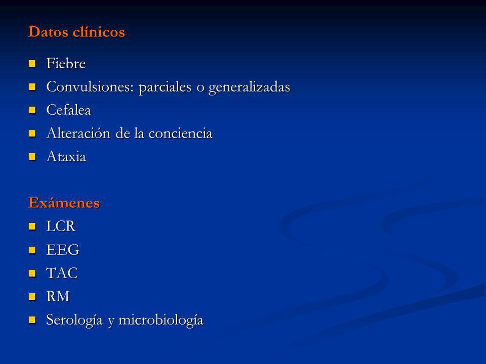 Datos clínicos Fiebre. Convulsiones: parciales o generalizadas. Cefalea. Alteración de la conciencia.