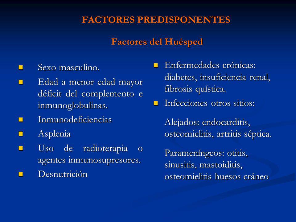 FACTORES PREDISPONENTES Factores del Huésped