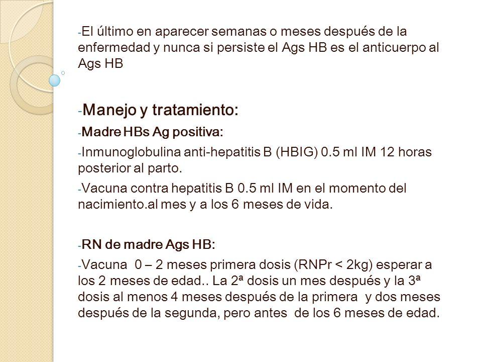 El último en aparecer semanas o meses después de la enfermedad y nunca si persiste el Ags HB es el anticuerpo al Ags HB