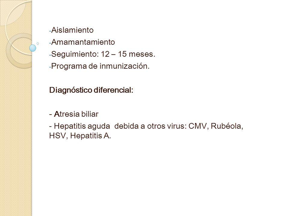 Aislamiento Amamantamiento. Seguimiento: 12 – 15 meses. Programa de inmunización. Diagnóstico diferencial: