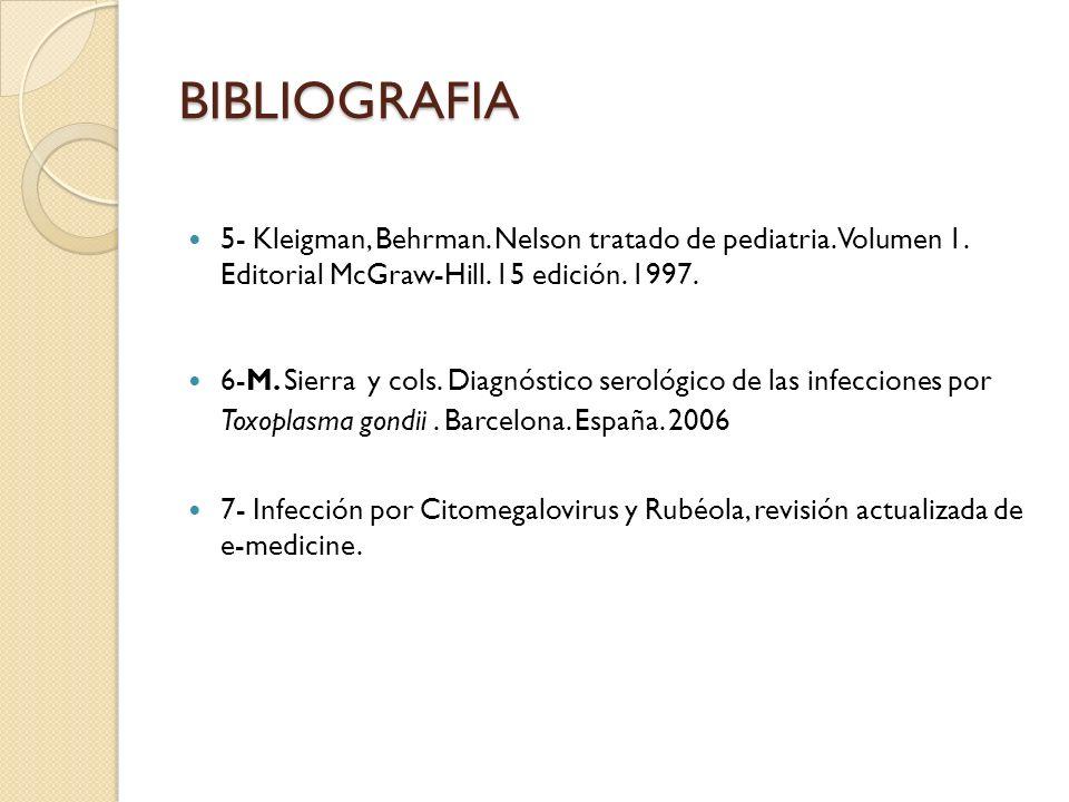BIBLIOGRAFIA 5- Kleigman, Behrman. Nelson tratado de pediatria. Volumen 1. Editorial McGraw-Hill. 15 edición. 1997.