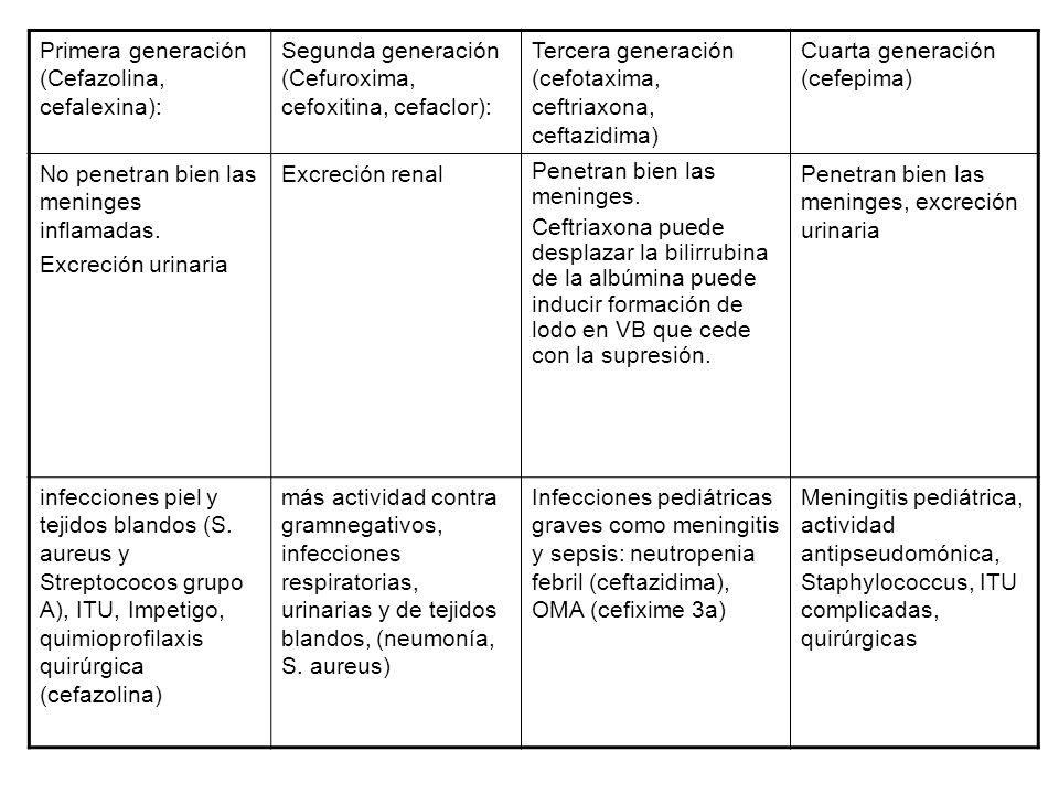 Primera generación (Cefazolina, cefalexina):