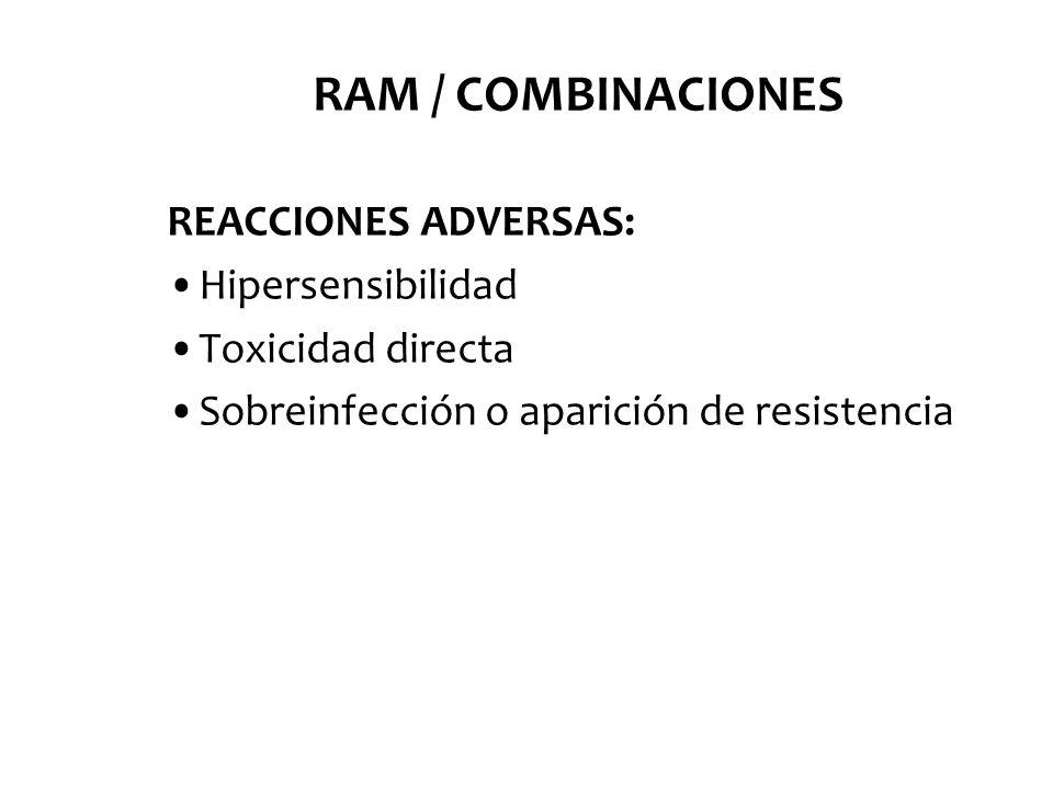 RAM / COMBINACIONES REACCIONES ADVERSAS: Hipersensibilidad