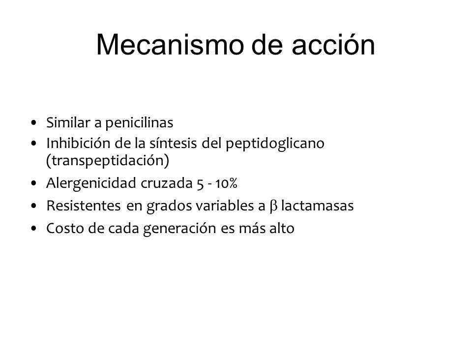 Mecanismo de acción Similar a penicilinas