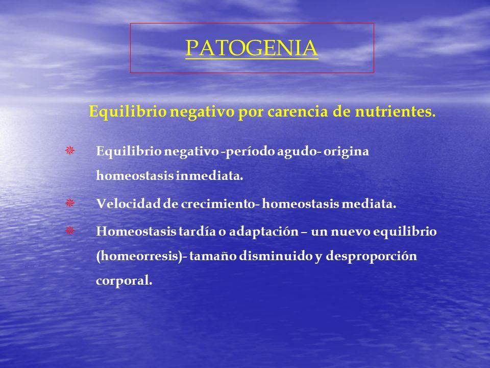 PATOGENIA Equilibrio negativo por carencia de nutrientes.